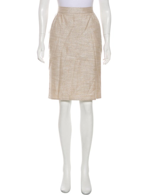 Carolina Herrera Knee-Length Metallic Skirt Beige