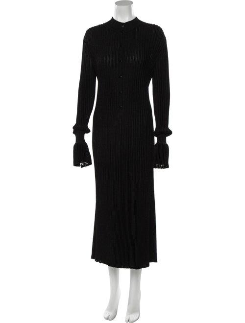 Carolina Herrera Metallic Button-Up Dress Black
