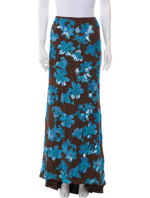 Carolina Herrera Silk Long Skirt Brown