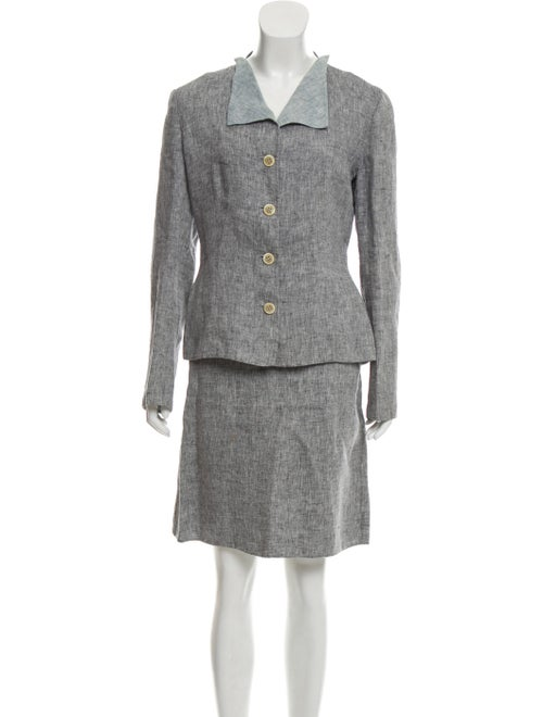Carolina Herrera Linen Skirt Suit Grey