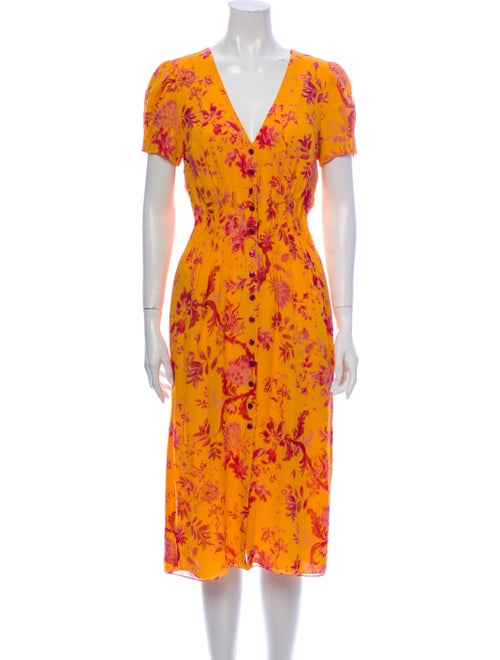 Carolina Herrera Silk Midi Length Dress Orange