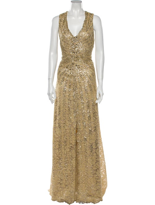 Carolina Herrera V-Neck Long Dress Gold