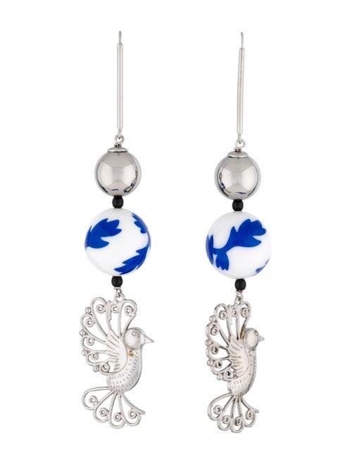 Carolina Herrera Beaded Bird Earrings Silver