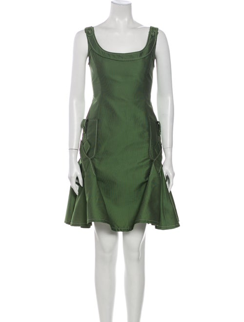 Carolina Herrera Scoop Neck Mini Dress Green