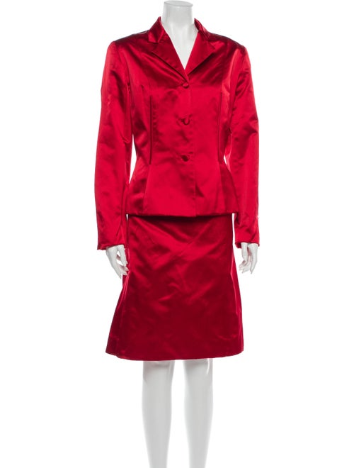 Carolina Herrera Silk Skirt Suit Red