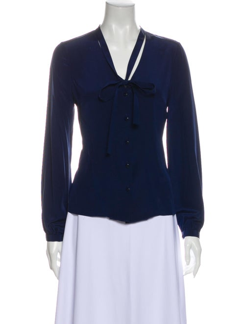 Carolina Herrera Silk Tie Neck Blouse Blue