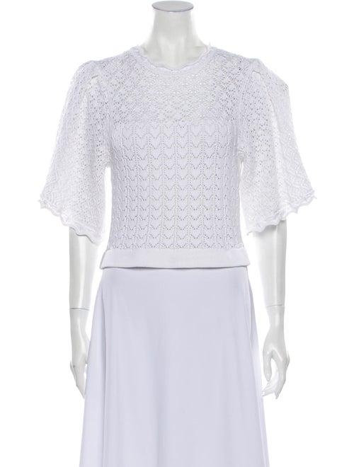 Carolina Herrera Lace Pattern Crew Neck Sweater Wh