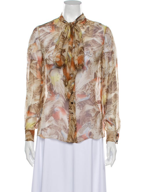 Carolina Herrera Silk Printed Blouse Tan