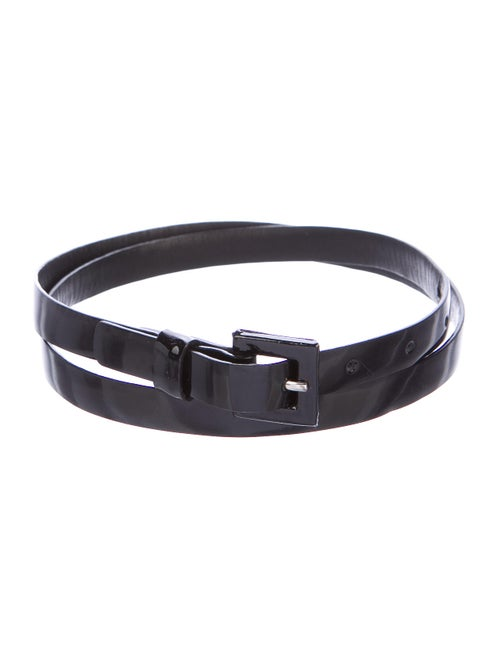 Carolina Herrera Patent Leather Skinny Belt Black