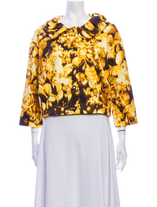 Carolina Herrera Floral Print Jacket Yellow