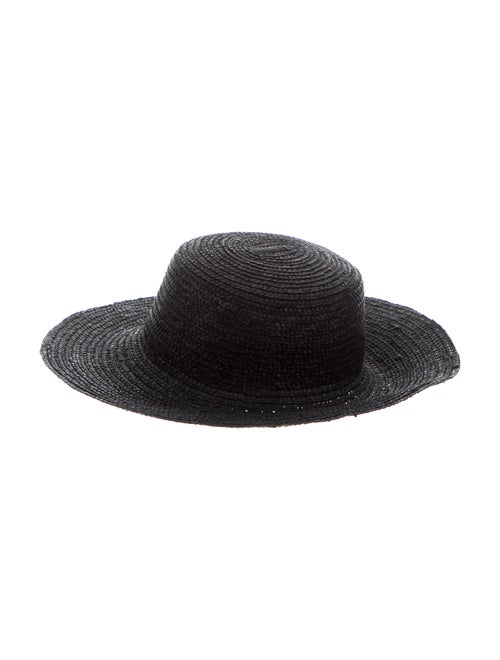 Carolina Herrera Straw Wide Brim Hat Black
