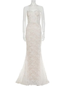 Carolina Herrera Lace Pattern Long Dress