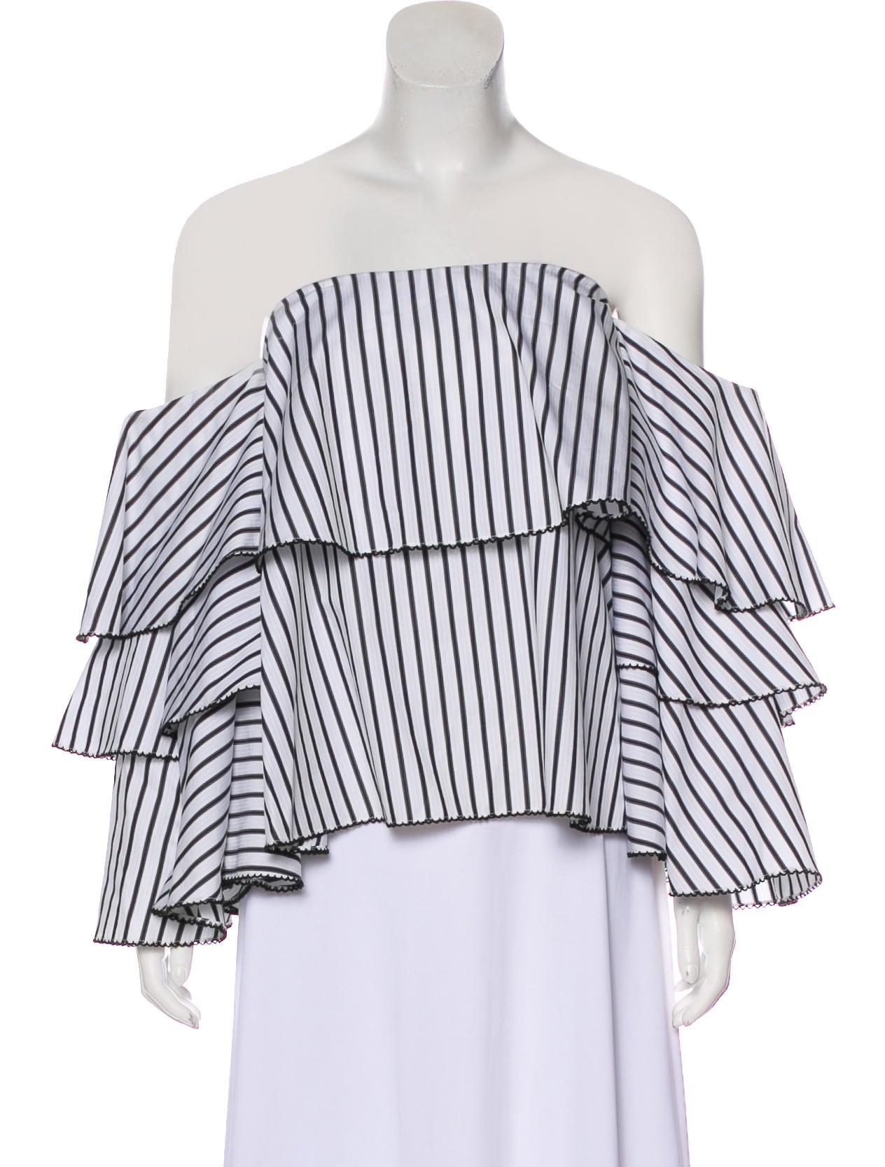 395b0007c26 Caroline Constas Striped Off-The-Shoulder Top - Clothing ...