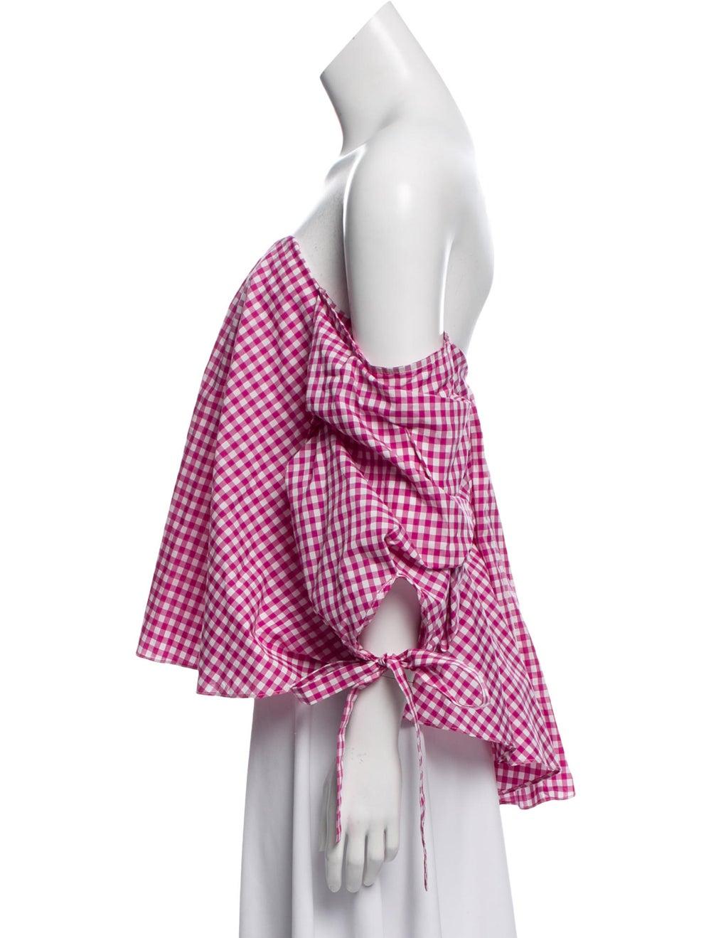Caroline Constas Gingham Off-The-Shoulder Top Pink - image 2