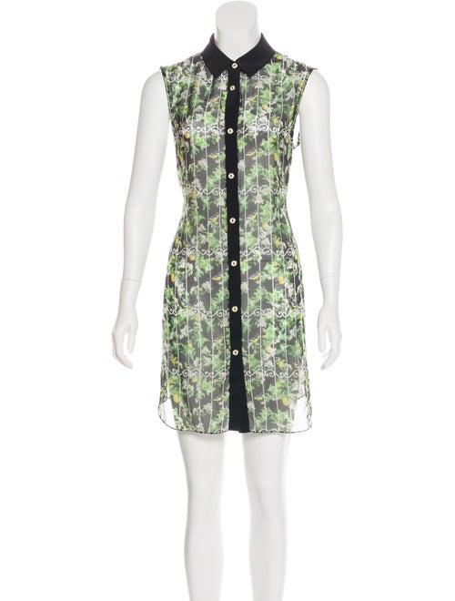 Caroline Constas Sheer Button-Up Dress Black