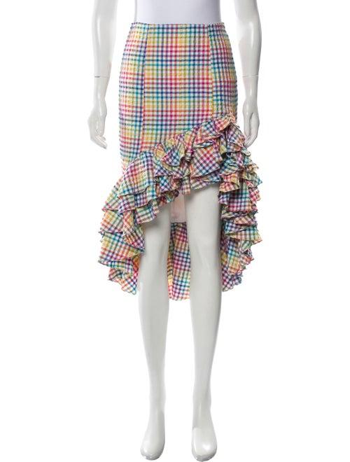 Caroline Constas Gingham High-Low Skirt Pink