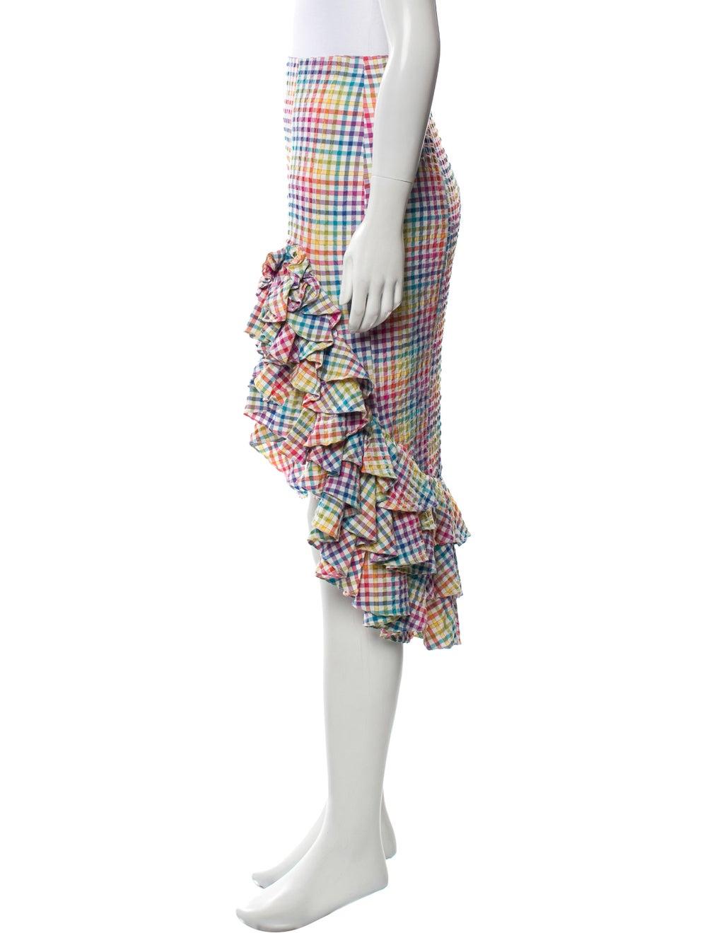 Caroline Constas Gingham High-Low Skirt Pink - image 2