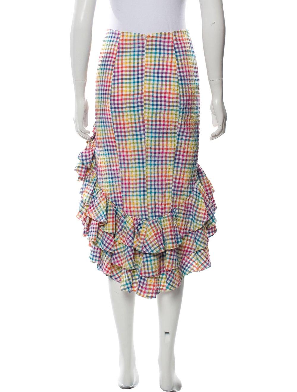 Caroline Constas Gingham High-Low Skirt Pink - image 3
