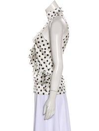Caroline Constas Silk Polka Dot Print Top