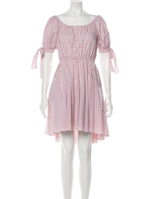 Caroline Constas Plaid Print Mini Dress Pink