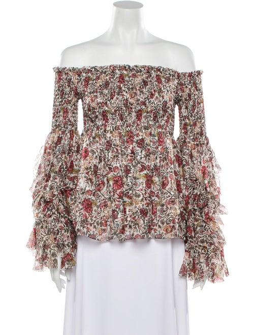 Caroline Constas Silk Floral Print Top w/ Tags Red