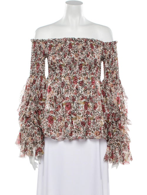 Caroline Constas Silk Floral Print Top w/ Tags Red - image 1