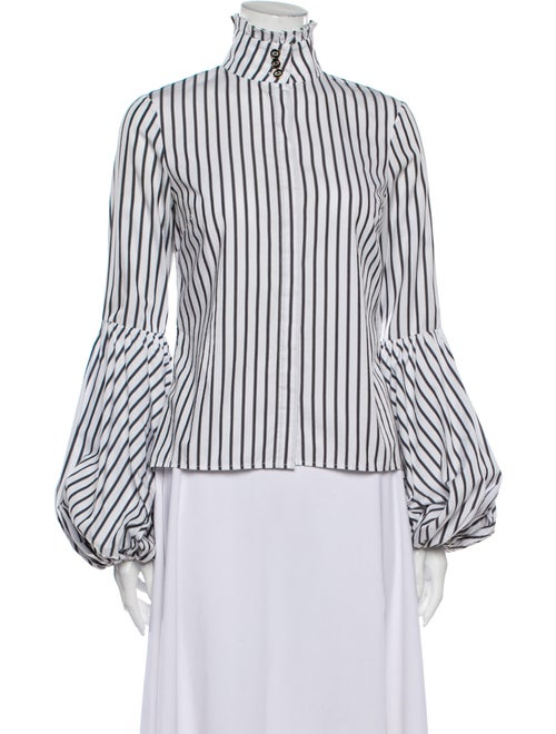 Caroline Constas Striped Turtleneck Blouse White - image 1