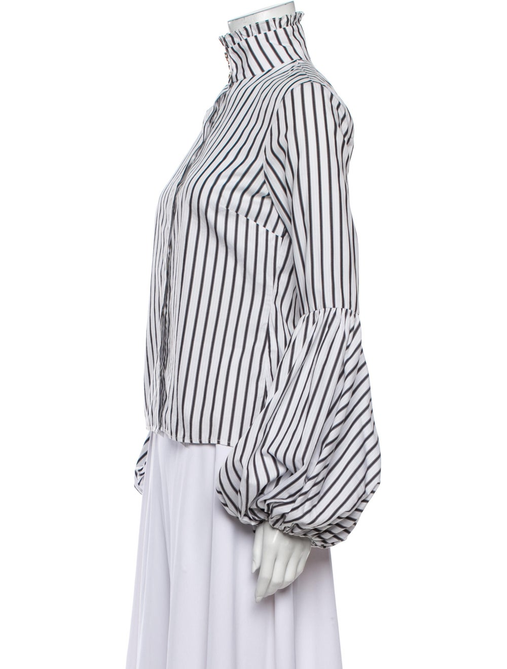 Caroline Constas Striped Turtleneck Blouse White - image 2