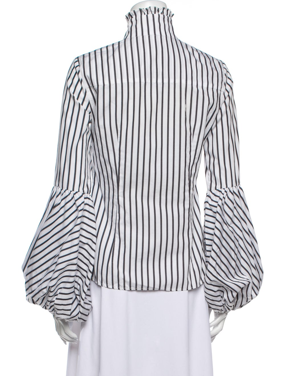 Caroline Constas Striped Turtleneck Blouse White - image 3