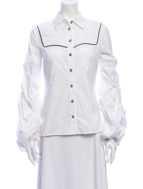 Caroline Constas Long Sleeve Button-Up Top White