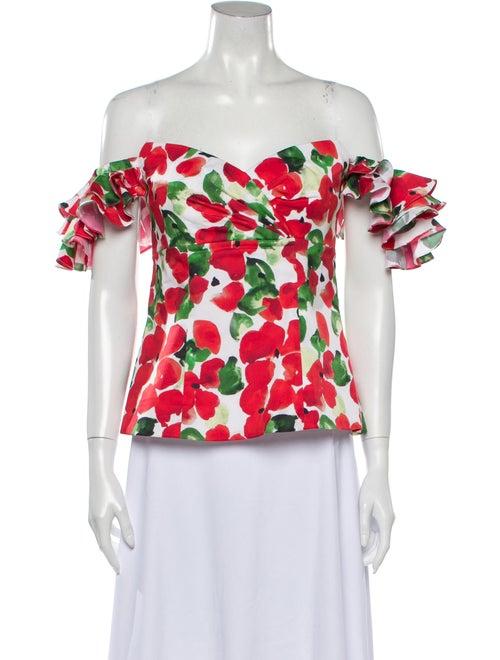 Caroline Constas Floral Print Off-The-Shoulder Top