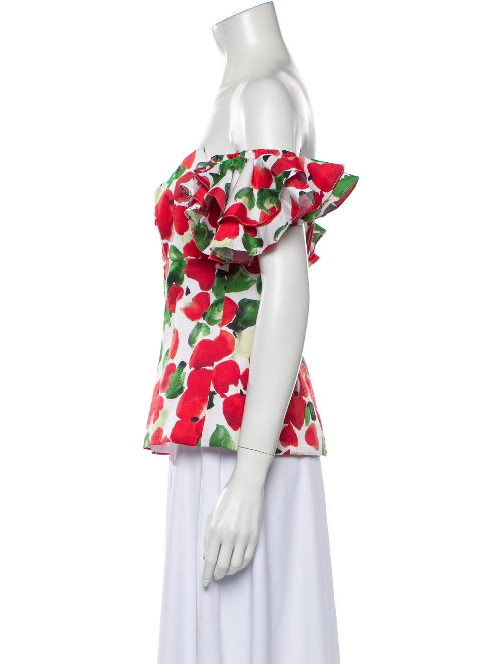 Caroline Constas Floral Print Off-The-Shoulder To… - image 2