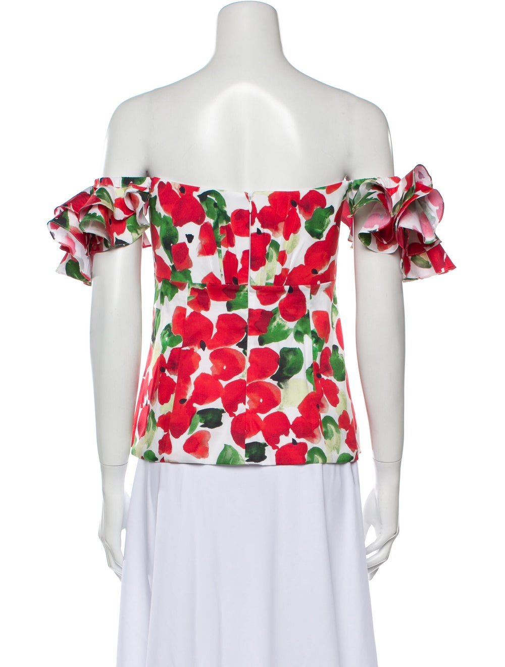 Caroline Constas Floral Print Off-The-Shoulder To… - image 3