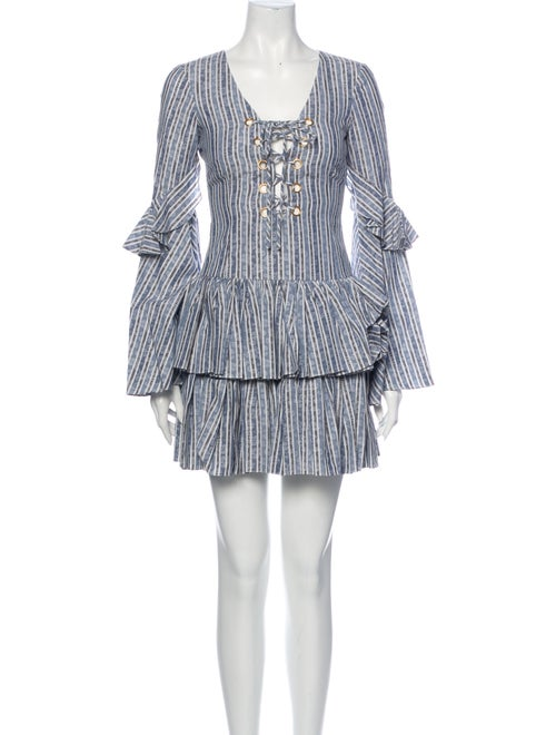 Caroline Constas Anastasia Mini Dress Blue