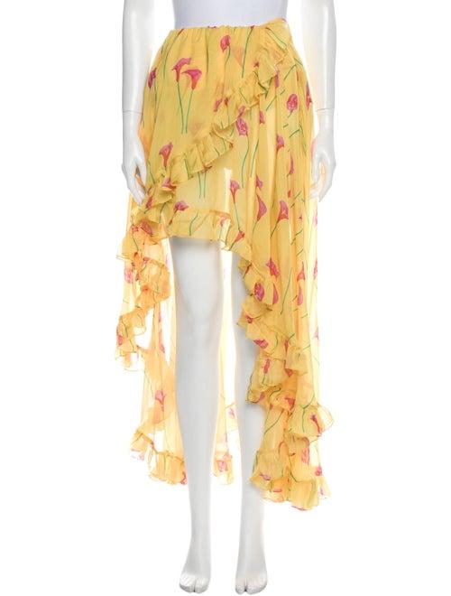 Caroline Constas Silk Midi Length Skirt Yellow