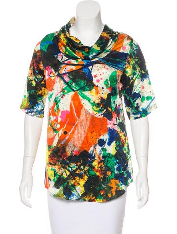 Chris Benz Silk Abstract Print Top None