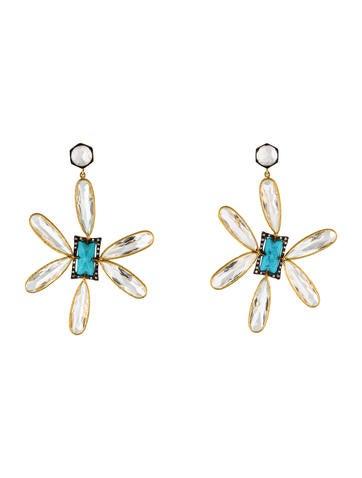 Cathy Waterman 22K Colorless Topaz, Moonstone & Turquoise Flower Earrings