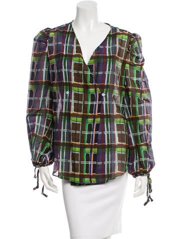 Carven Plaid Button-Up Top None