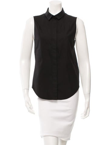 Carven Sleeveless Button-Up Top None
