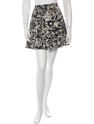 Carven Patterned Wool Skirt