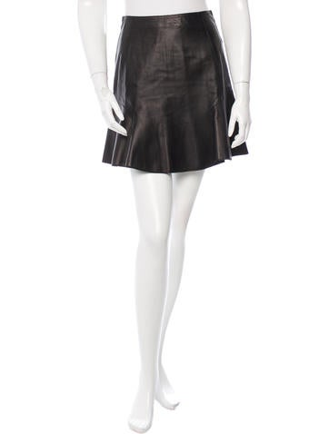 Carven Leather Mini Skirt None