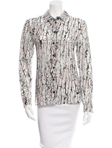 Carven Printed Button-Up Top None