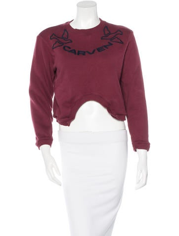 Carven Embroidered Cropped Sweatshirt None