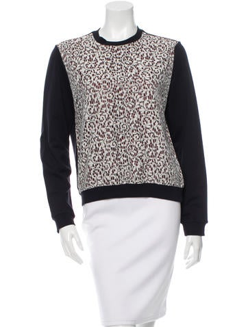 Carven Lace-Accented Pullover Sweatshirt None