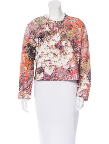 Carven Digital Print Crop Sweatshirt None