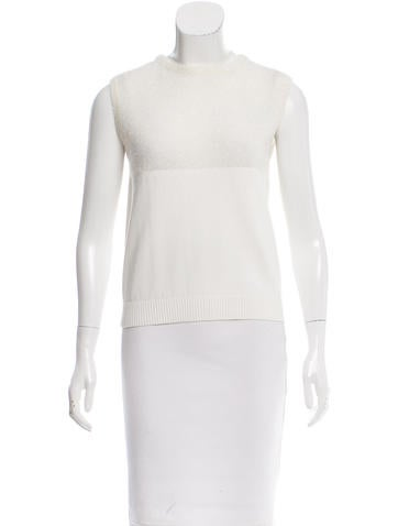 Carven Iridescent-Paneled Knit Top None