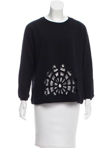 Carven Cutout Detail Rib Knit-Trimmed Sweatshirt None