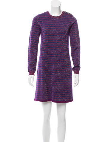 Carven Striped Merino Wool Dress None