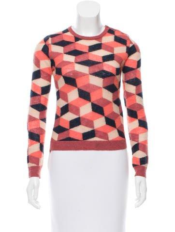 Carven Geometric Intarsia Mohair-Blend Sweater None