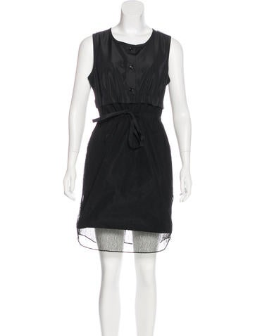 Carven Sleeveless Lace-Paneled Dress w/ Tags None
